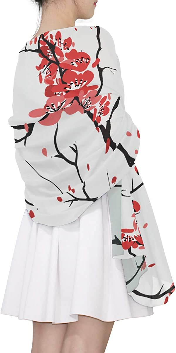 Womans Shawl Wrap Cherry Sakura Seamless Pattern Fashion Scarfs For Women Lightweight Womens Oversized Scarf Lightweight Print Scarves Shawl Wrap For Women Womens Oversized Scarf