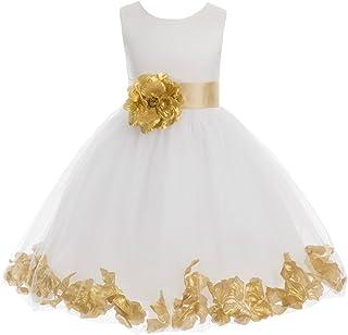 76fcf72e0 Ivory Tulle Rose Floral Petals Toddler Flower Girl Dresses Bridal Gown 302T