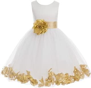 Ivory Tulle Rose Floral Petals Toddler Flower Girl Dresses Bridal Gown 302T
