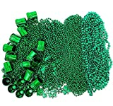 St Patricks Day Beads Necklace Bulk (72 Pack) Green Shamrock Beads Shot Glass Assortment - St Patricks Day Gifts for Kids, 33' 8mm Irish Kids Party Favor Supplies Costume Accessories by 4E's Novelty