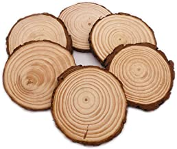 Natural Pine Wood Slabs Untreated Solid Wood Slices for Weddings, Table Centerpieces, DIY Projects or Decoration (6Pcs 6