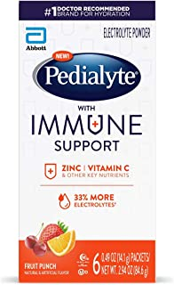Pedialyte with Immune Support, 6 count, Electrolytes with Vitamin C and Zinc, Advanced Hydration with PreAc...