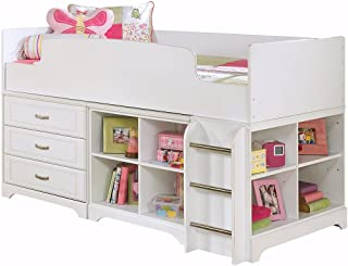 Ashley Furniture Signature Design - Lulu Kids Trundle Bedset with Roll Slats, Loft Bed & Storage - Childrens Twin Size Bed - White