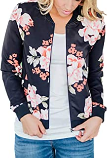 Women's Lightweight Floral Bomber Jacket with Pockets 2 Colors (S-3XL)