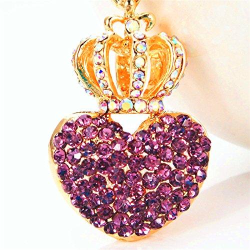 Jzone Heart Tiara Crown Pendant Keychain for Women Lovely Women Bag Car Charm Pendant Key Chain Ring (Purple)