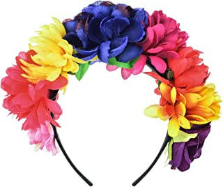 Day of The Dead Flower Crown Festival Headband Rose Mexican Floral Headpiece HC-23