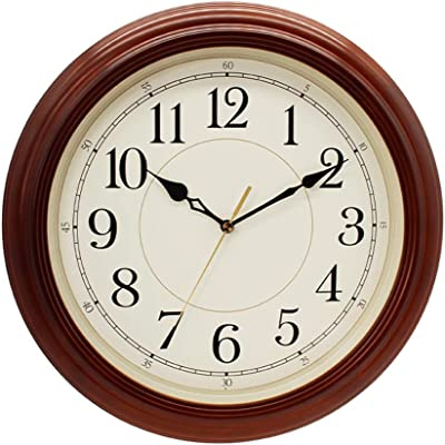Style wei Wall Clock Solid Wood Home Living Room Bedroom Mute Clock Office Quartz Clock Retro Large Wall Clock (Color : Dark Brown)