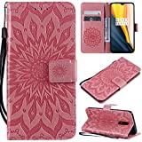 Cfrau Kickstand Wallet Case with Black Stylus for OnePlus 7,Retro Mandala Sunflower PU Leather Magnetic Flip Folio Stand Soft Silicone Card Slots Case with Wrist Strap - Pink