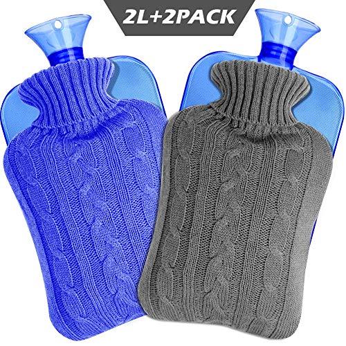 SaponinTree Bolsa de Agua Caliente, Bolsa Goma de Agua Caliente Botella con Cubiertas de Punto, Alivio Rápido del Dolor y Comodidad, 2L