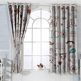 Mexican Bedroom Curtains Blackout Shades Mexican Latino Doodles Hipster Mustache Restaurant Cat Heart Viva Fiesta Darkening Drapes for Bedroom W96 x L107 Inch Brown Multicolor
