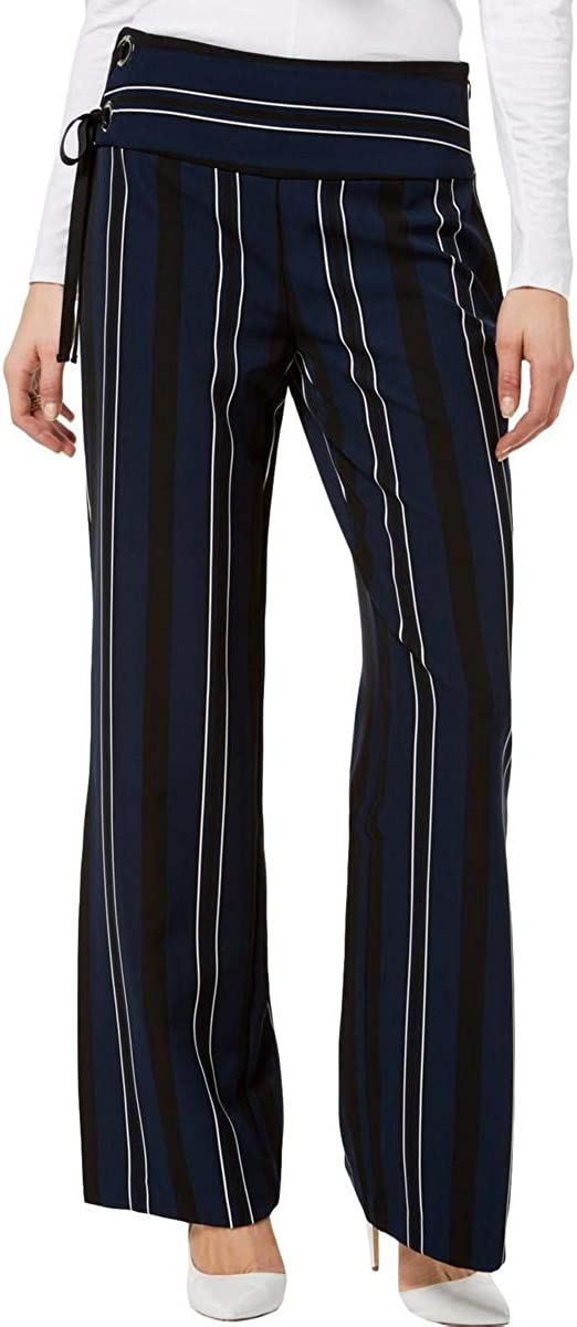I-N-C Womens Lace-Up Detail Casual Wide Leg Pants