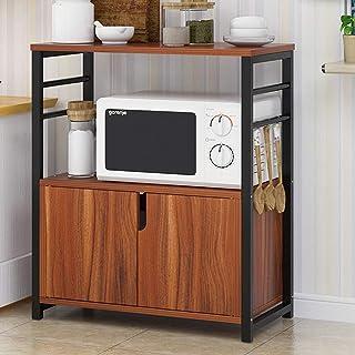 Horno de Microondas del Estante Microondas horno de carro de cocina estanterías de madera de 2 niveles estante con gabinet...
