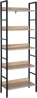 WOLTU Estantería con 5 Escalera Esquina Estante de Almacenamianto de Madera Acero Negro+Roble 60 x 27,5 x 160 cm RGB9303she