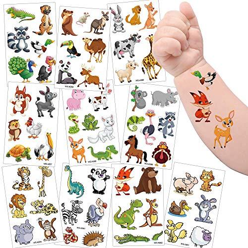Sporgo Tattoo Kinder, Einhorn Meerjungfrau Dinosaurier Tier Weltraum Party Tattoos Set,Temporäre Tattoos Kinder Aufkleber für Mädchen Kindergeburtstag Mitgebsel Party (Tier)