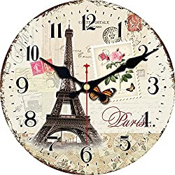 Shuaxin Living Room Decorative Wall Clock,14 Inch Wooden French Style Eiffel Tower Design Wall Clock,Silent Non Ticking Large Round Kitchen Wall Clock
