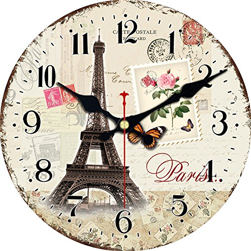 ShuaXin Home Decor Wall Clocks,16 Inch Large Wooden French Style Eiffel Tower Design Wall Clocks,Office Decorative Silent Non Ticking Round Wall Clock