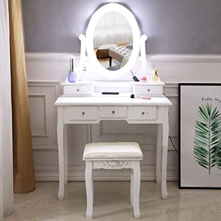 【US Fast Shipment】 Vanity Set with Lighted Mirror Makeup Vanity Dressing Table with Cushioned Stool /& Drawers for Girl Women Bedroom Makeup Dressing Desk Birthday