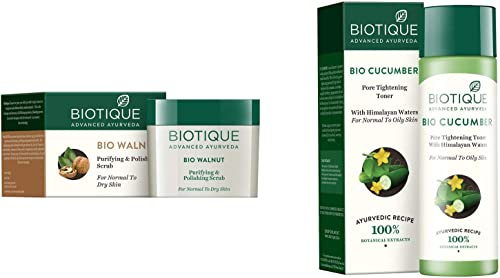 Biotique Bio Walnut Purifying & Polishing Scrub For Normal To Dry Skin , 50G And Biotique Bio Cucumber Pore Tightenin...