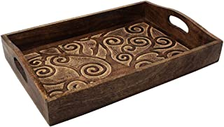 Artisans Of India Serving Tray - Wooden Tray with Handles - for Dinner Trays, Tea Tray, Bar Tray, Breakfast Tray, or Any Food Tray - Good for Parties or Bed Tray (Brown)