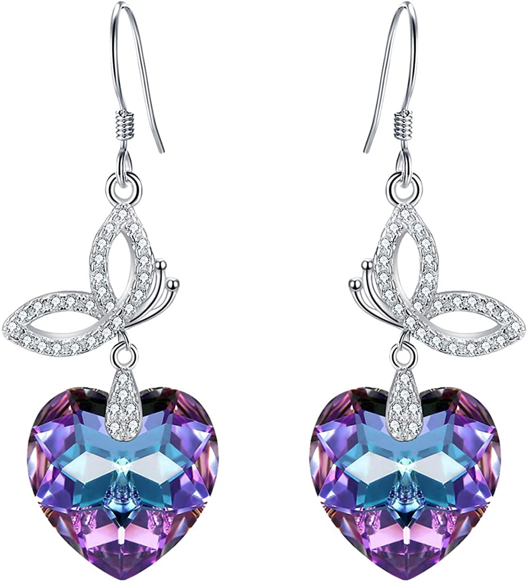 EleQueen 925 Sterling Silver Max 68% OFF CZ French Hook Max 84% OFF Butterfly Love Heart