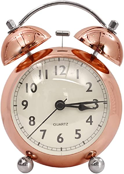 Mystyle Label 4 5 Twin Bell Alarm Clock With Stereoscopic Dial Backlight Battery Operated Loud Alarm Clock Silent With No Ticking Analog Quartz Copper