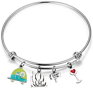 Travel Camper Bracelet Camping Charm Bangle RV Travel Trailer Camping Jewelry Gift for Women Best Friend