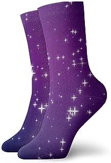 tyui7, Sparkly Purple Blue Pink Night Sky Full of Stars Calcetines de compresión antideslizantes Cosy Athletic 30cm Crew Calcetines para hombres, mujeres, niños