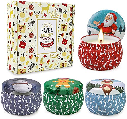 Christmas Scented Candles Gift Set, Christmas Cookie, Apple and Cinnamon, Balsam fir, Lavender, Portable Travel Tin Candles,Gifts for Women