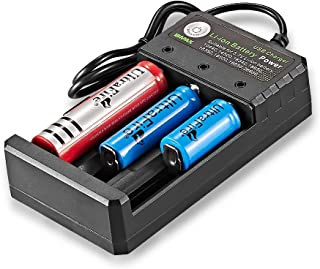 Universal Smart Battery Charger 3 Slot with USB Port, Charges for 3.7V Li-ion Rechargeable Batteries of 10440(AAA) 14500(A...