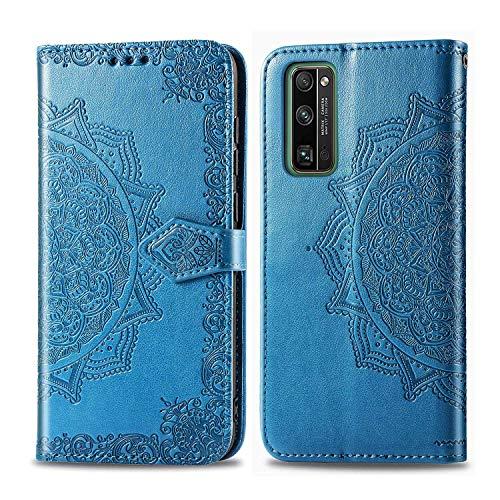 Bear Village Hülle für Huawei Honor 30 Pro/Honor 30 Pro Plus, PU Lederhülle Handyhülle für Huawei Honor 30 Pro/Honor 30 Pro Plus, Brieftasche Kratzfestes Handytasche mit Kartenfach, Blau