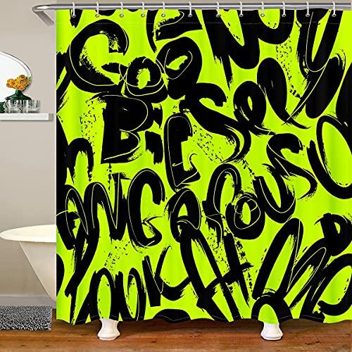 Cortina de ducha Hip Hop con ganchos Hip Hop Street Culture impermeable para niños, niñas, adolescentes, hombre, graffiti grunge Art cortina de baño verde negro cortina de baño 72 x 94 pulgadas