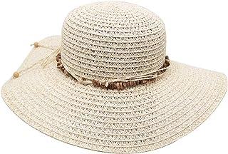 JENDI Womens Wide Brim Straw Floppy Sun Hat Packable Summer Beach Hat UV Protection UPF 50+ Adjustable