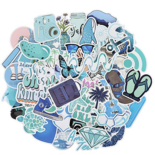 Willingood 50 Pack Cute Vsco Stickers, Water Bottle Stickers, Girl Blue Stickers, Trendy Stickers for Laptop, Notebook, Skateboard, Luggage, Bumper, Guitar, Bike - Stickers Pack For Teens