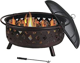 Sunnydaze Crossweave Outdoor Fire Pit – 36 Inch Large Bonfire Wood Burning Patio..