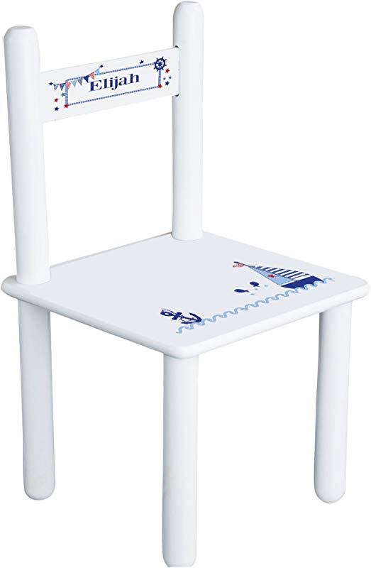 Personalized Boys Sailboat Child S Chair White