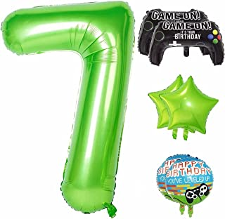 40 Inch Large Number 7 Balloon for Boys Birthday Decoration, Party Supplies Video Game Theme Foil Mylar Helium Balloons fo...