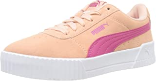 Puma Girl's Carina Jr Peach Parfait-Beetroot Purple Leather Sneakers