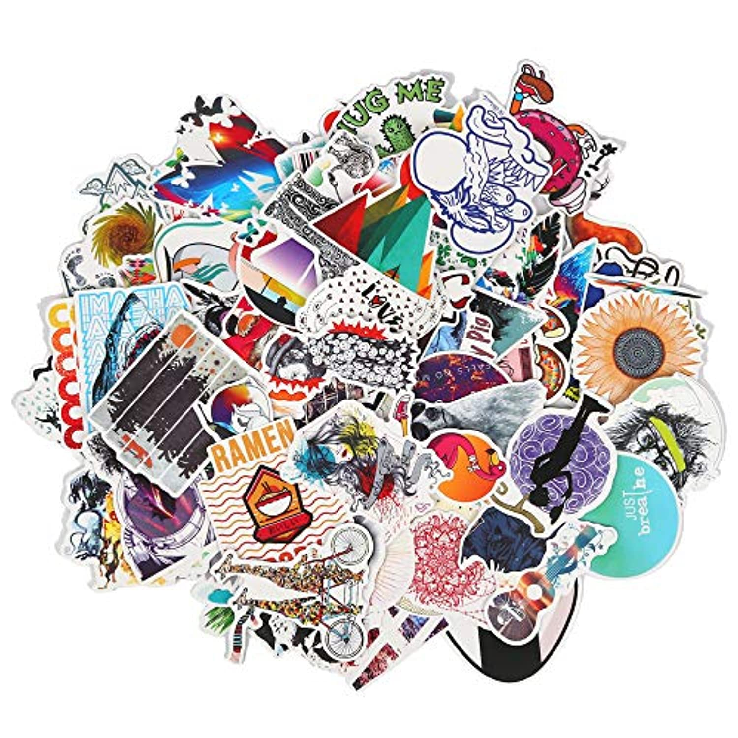 Cute Cartoon Stickers 100 Pieces Waterproof Polyvinyl Chloride Stickers for Personalize Laptops, Skateboards, Cars, Bumpers, Helmet, Luggage Graffiti Decals
