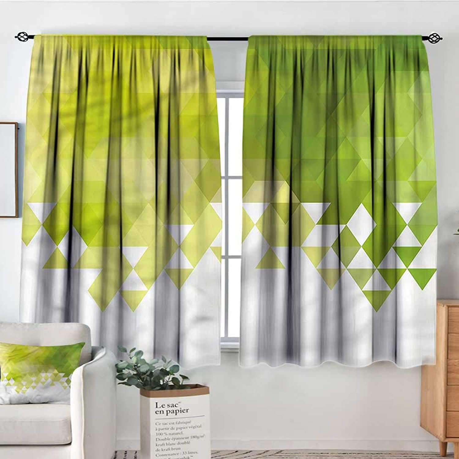 Sanring Green,Indo Panes Drapes Abstract Triangle Pattern 52 x63  Kids Backout Curtains for Bedroom