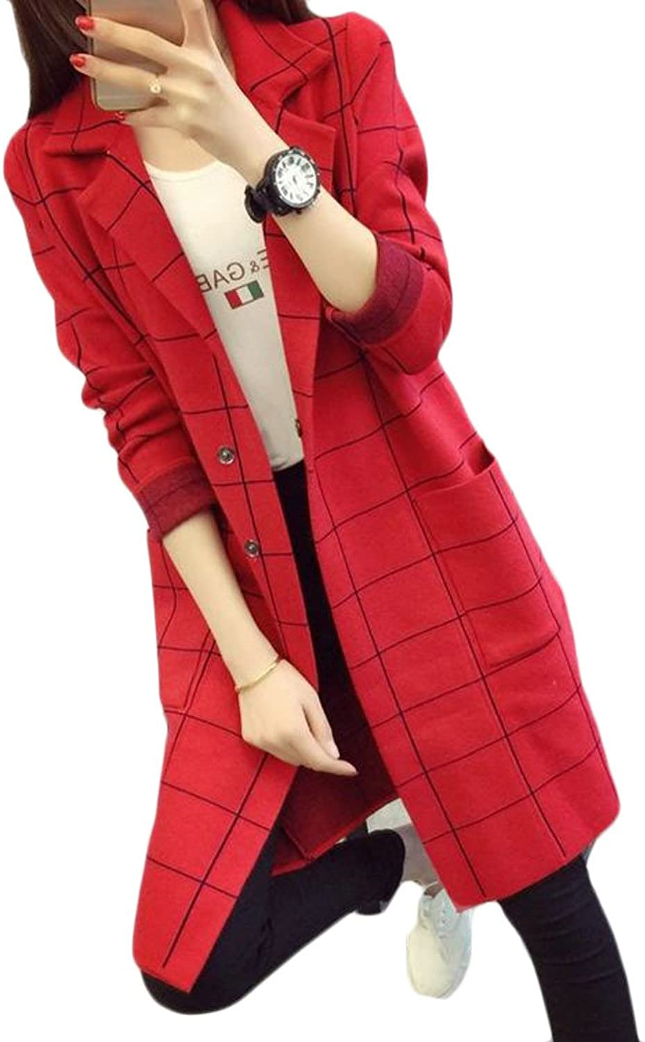Wofupowga Women Loose Fit Single Breasted Knit Checkered Long Sleeve Notched Lapel Trench Coat