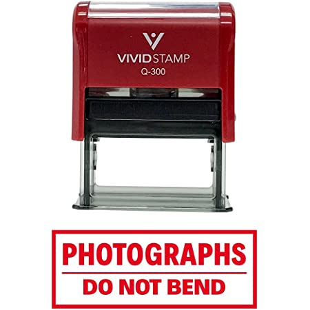 Photographs DO NOT Bend Self Inking Rubber Stamp (Red Ink) - Large