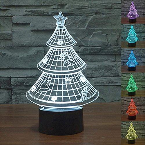 Árbol de Navidad 3d luz nocturna Touch mesa lámparas de escritorio para regalos, Elstey 7luces que cambian de Color con acrílico soporte de & ABS Base de batería y cargador USB