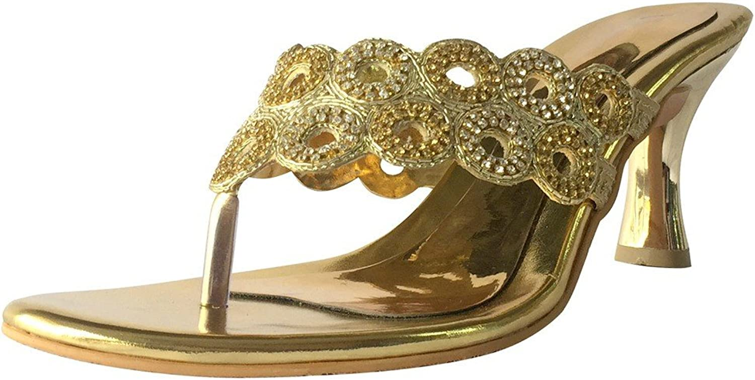 Step n Style Ladies Party Glitter Diamante Ankle Straps Low Heel shoes JUTTIES