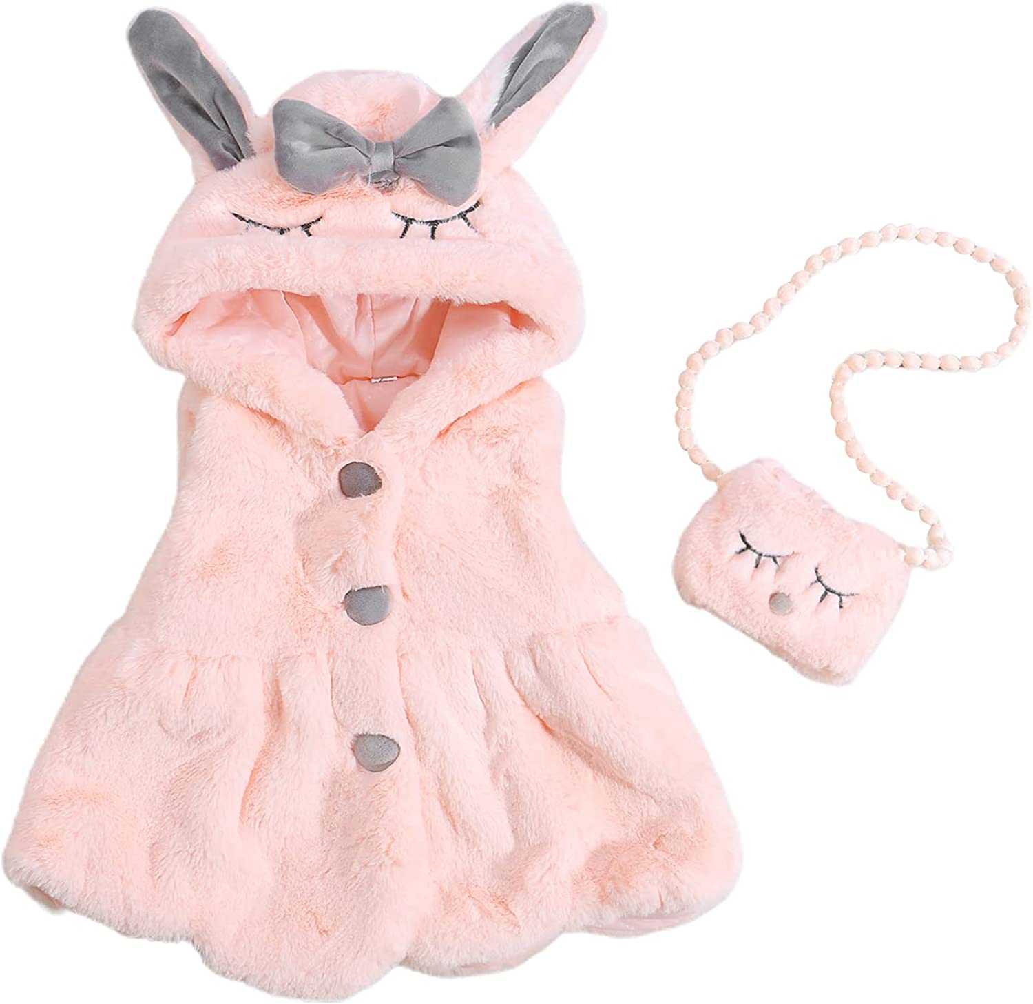 Toddler Baby Girl Winter Outfits Portland Mall Brand new Fleece Coat Cute Faux Bunny Fur