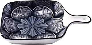 Ceramic Baking Dish with Handle, Rectangular Baking Pans for Cooking, Cake Dinner, Kitchen (Flower)
