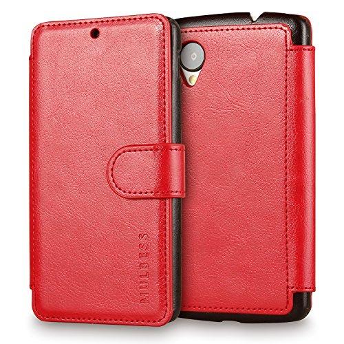 Mulbess Handyhülle für Google Nexus 5 Hülle Leder, Layered Dandy Leder Flip Tasche für Google Nexus 5 SchutzTasche Cover Etui, Wein Rot