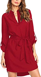 Shirts Dress for Women Button Down Long Sleeve V Neck Plaid Blouses Casual Loose Tunic Mini Dresses with Pocket