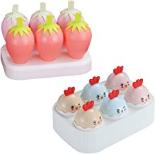 MINGTAI 6 Slots Cute Manual Frozen Ice Pop Moulds Egg Strawberry Ice Cream Molds Maker For Homemade Popsicle Ice Lolly Sup...