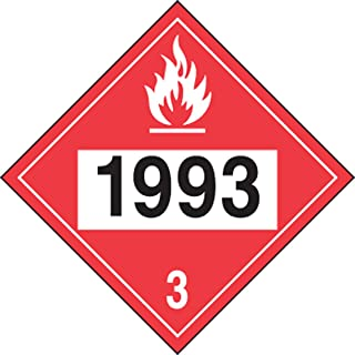 Accuform Signs MPL736VS1 Adhesive Vinyl 4-Digit DOT Placard, Hazard Class 3, Legend