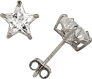 Solid 14k Yellow or White Gold Star-cut Cubic Zirconia Basket Post Stud Earrings (4-6mm)